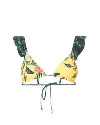 Желтый бикини-топ с цветочным принтом от Patbo