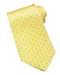 Желтый галстук с принтом