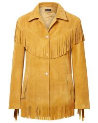 Женский желтый замшевый пиджак c бахромой от Isabel Marant