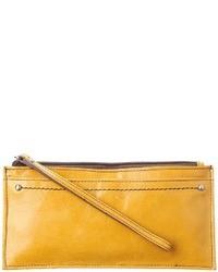 Желтый кожаный клатч