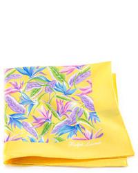 Желтый нагрудный платок с цветочным принтом