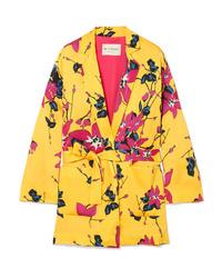 Желтый пиджак с цветочным принтом