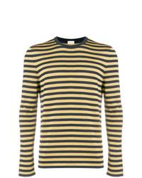Мужской желтый свитер с круглым вырезом в горизонтальную полоску от Saint Laurent