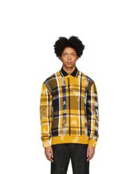 Мужской желтый свитер с круглым вырезом в клетку от Versace