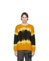 Мужской желтый свитер с круглым вырезом с принтом тай-дай от Palm Angels