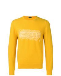 Желтый свитер с круглым вырезом с принтом