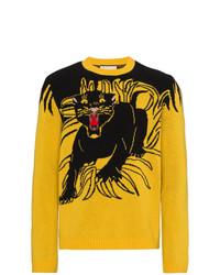 Мужской желтый свитер с круглым вырезом с принтом от Gucci