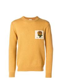 Мужской желтый свитер с круглым вырезом с принтом от Kent & Curwen