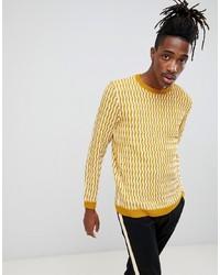 Мужской желтый свитер с круглым вырезом от ASOS DESIGN