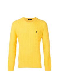Мужской желтый свитер с круглым вырезом от Polo Ralph Lauren