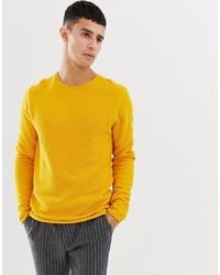 Мужской желтый свитер с круглым вырезом от Selected Homme