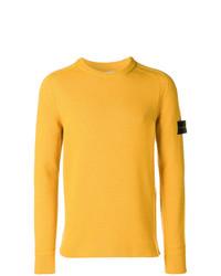Мужской желтый свитер с круглым вырезом от Stone Island