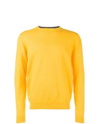 Мужской желтый свитер с круглым вырезом от Sun 68
