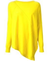 Желтый свободный свитер