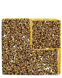 Желтый шелковый нагрудный платок с цветочным принтом