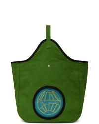 Зеленая большая сумка из плотной ткани
