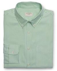 Зеленая классическая рубашка в вертикальную полоску