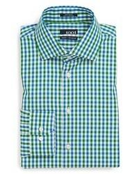 Зеленая классическая рубашка в мелкую клетку