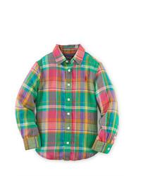 Зеленая классическая рубашка в шотландскую клетку