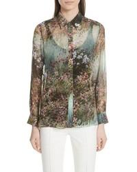 Зеленая классическая рубашка с цветочным принтом