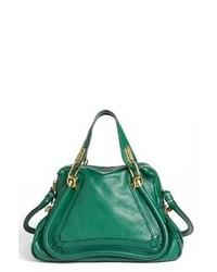Зеленая кожаная сумка-саквояж