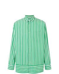 Зеленая рубашка с длинным рукавом в вертикальную полоску