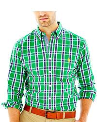 Зеленая рубашка с длинным рукавом в шотландскую клетку