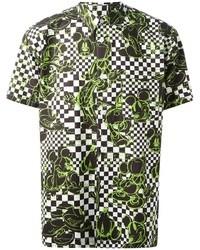 Зеленая рубашка с коротким рукавом с принтом