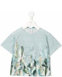 Детская зеленая футболка в горизонтальную полоску для девочке от Il Gufo