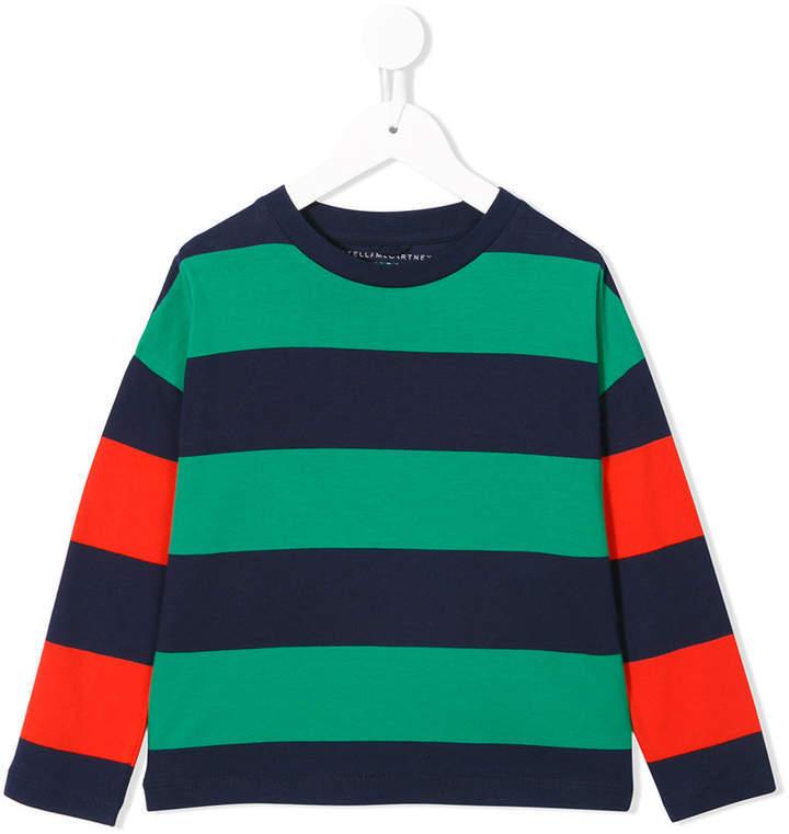 Детская зеленая футболка в горизонтальную полоску для девочек от Stella McCartney