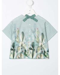 Детская зеленая футболка в горизонтальную полоску для девочек от Il Gufo
