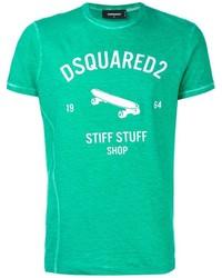 Зеленая футболка с круглым вырезом с принтом