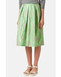 Зеленая юбка-миди со складками