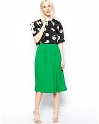 Зеленая юбка-миди со складками от Asos