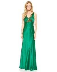 Зеленое вечернее платье с украшением
