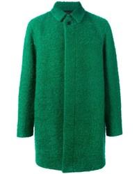 Зеленое длинное пальто