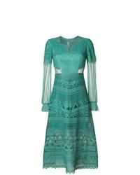 Женское зеленое кружевное вечернее платье от Three floor