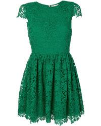 Женское зеленое кружевное платье прямого кроя с вышивкой от Alice + Olivia