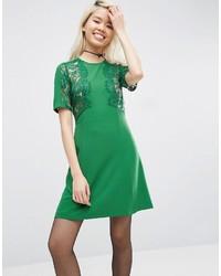 Женское зеленое кружевное платье прямого кроя от Asos