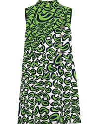 Женское зеленое платье прямого кроя с принтом от Miu Miu