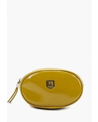 Зелено-желтая кожаная поясная сумка от Laccoma