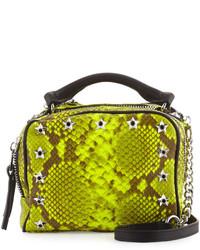 44c974cf4f2b Купить зелено-желтую кожаную сумку через плечо со змеиным рисунком - модные  модели сумок через плечо