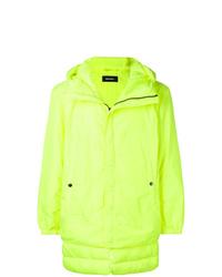 Зелено-желтая куртка-пуховик
