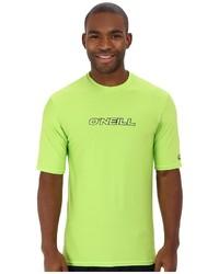 Зелено-желтая футболка с круглым вырезом
