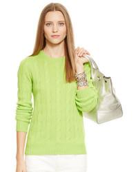 Зелено-желтый вязаный свитер