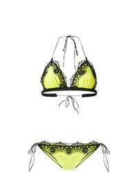 Зелено-желтый кружевной бикини-топ от Oseree