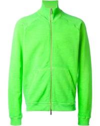 Зелено-желтый свитер на молнии