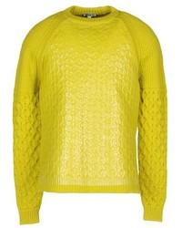 Зелено-желтый свитер с круглым вырезом