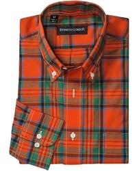 Зелено-красная рубашка с длинным рукавом в шотландскую клетку