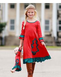 Зелено-красное новогоднее платье